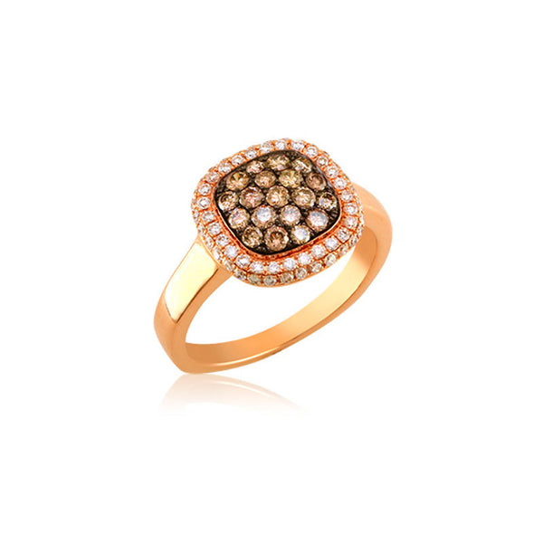 Bellagio Collection Cognac Diamond Pave Square Rose Gold Ring