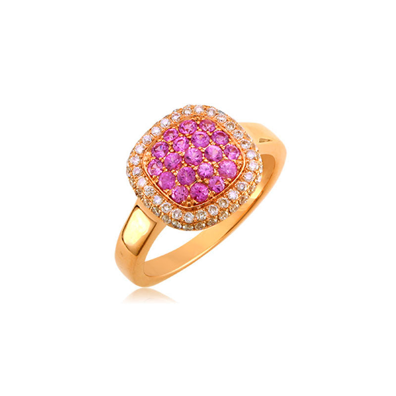 Bellagio Collection Pink Sapphire Pave Square Rose Gold Ring