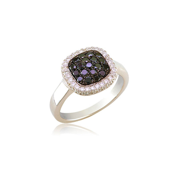Bellagio Collection Black Diamond Pave Square White Gold Ring