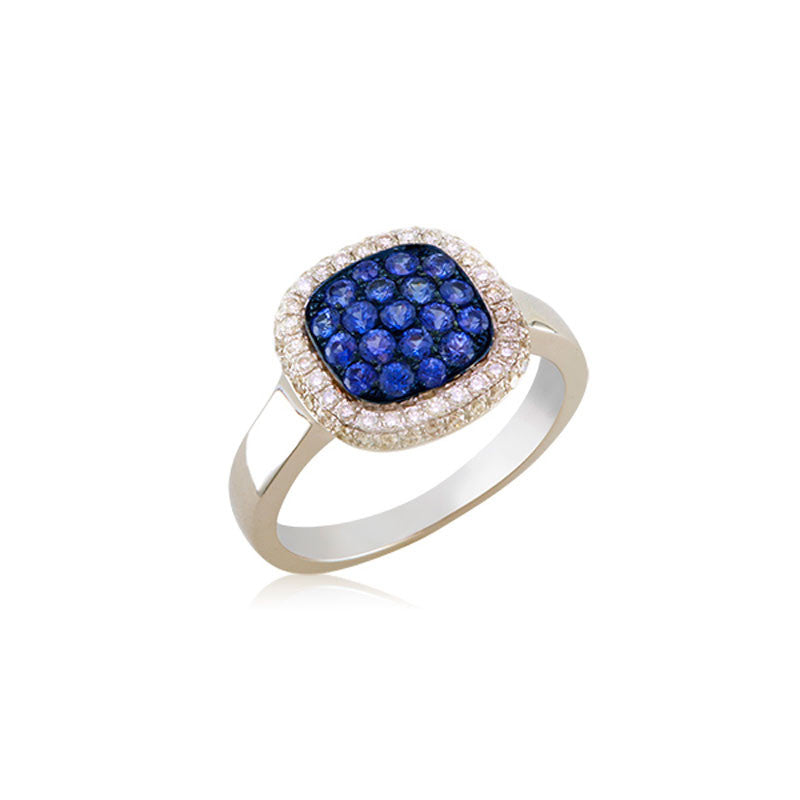 Bellagio Collection Sapphire Pave Square White Gold Ring