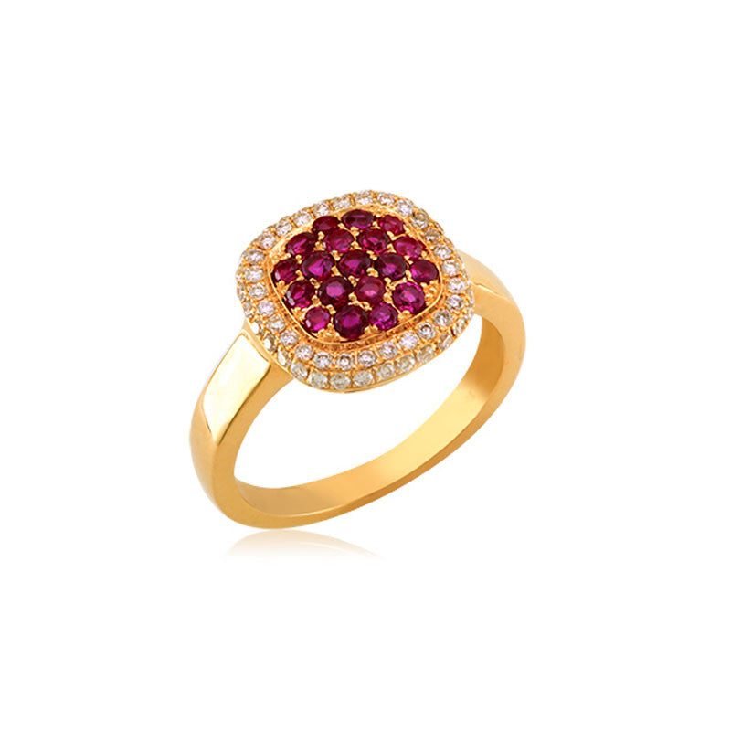 Bellagio Collection Ruby Pave Square Yellow Gold Ring
