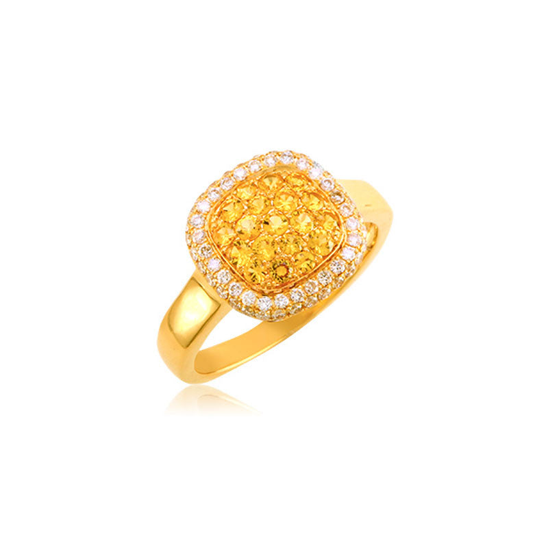 Bellagio Collection Yellow Sapphire Pave Square Yellow Gold Ring