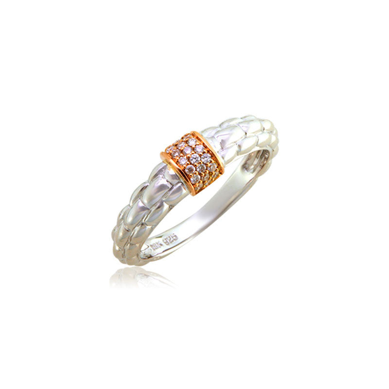 Pietra Collection 18K Rose Gold Pave Station Ring