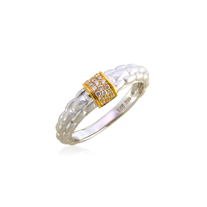 Pietra Collection 18K Yellow Gold Pave Station Ring
