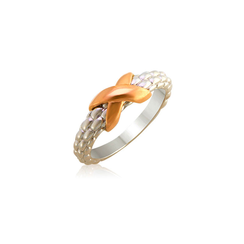 Pietra Collection Petite 18K Rose Gold X Station Ring