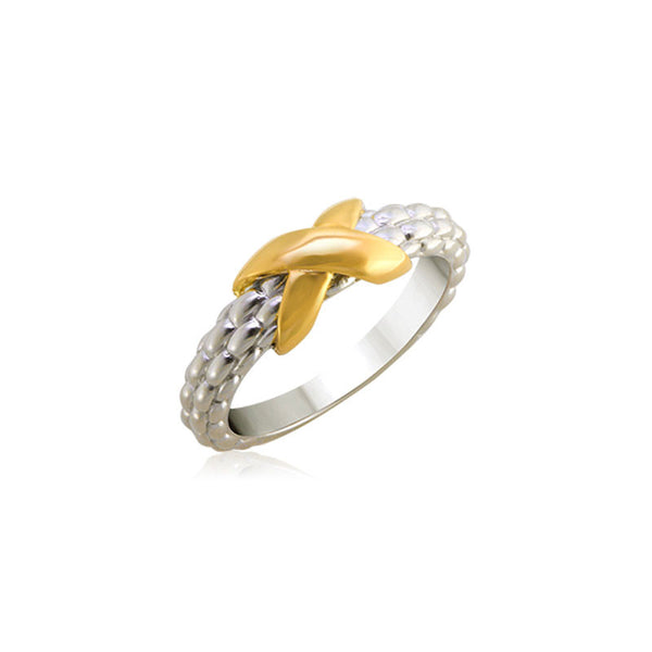 Pietra Collection Petite 18K Yellow Gold X Station Ring