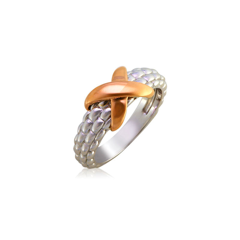 Pietra Collection 18K Rose Gold X Station Ring