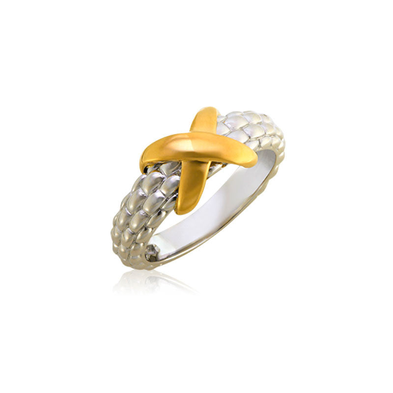 Pietra Collection 18K Yellow Gold X Station Ring