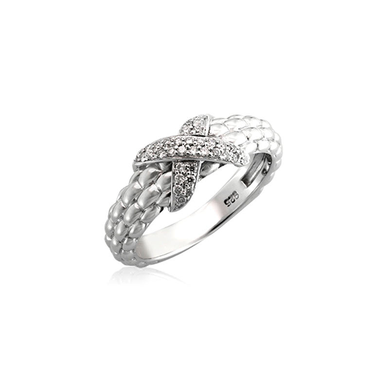 Pietra Collection Pave X Station Ring