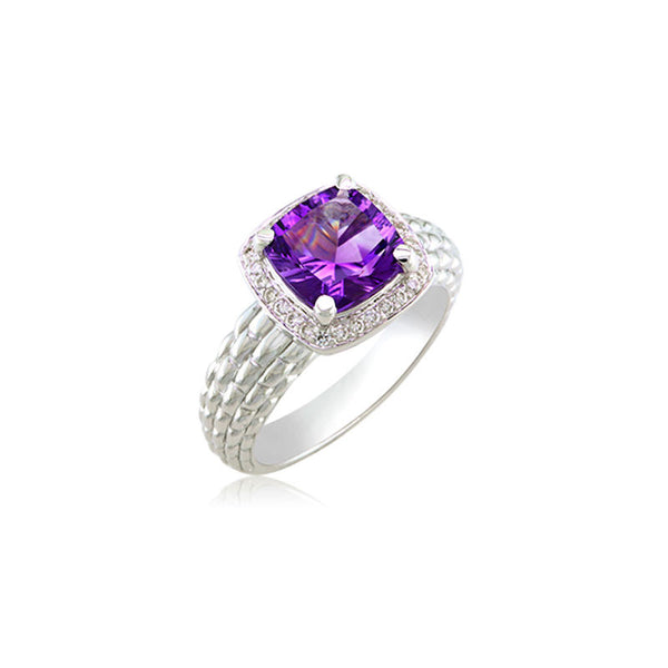 Pietra Collection Petite Amethyst and Diamond Ring