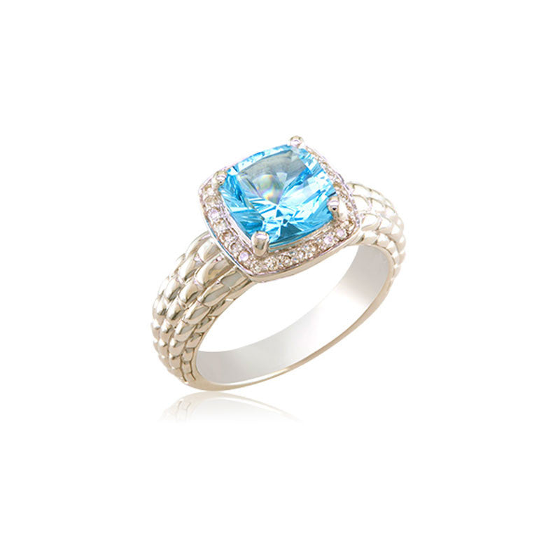 Pietra Collection Petite Blue Topaz and Diamond Ring