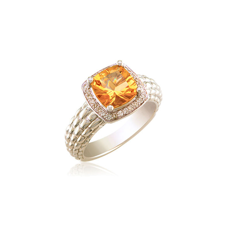 Pietra Collection Petite Champagne Citrine and Diamond Ring