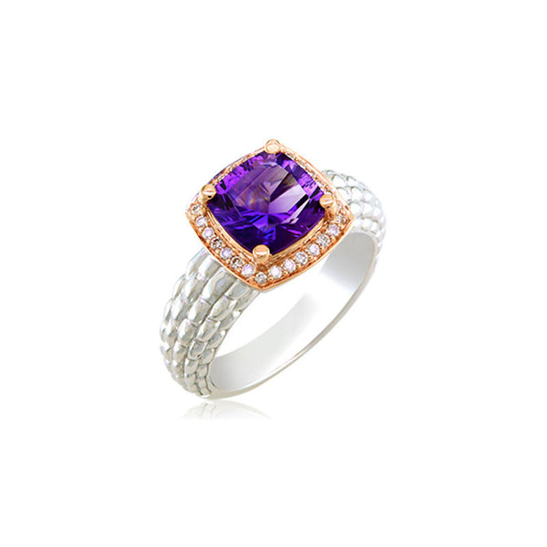 Pietra Collection Petite Amethyst and Diamond Two-Tone Ring