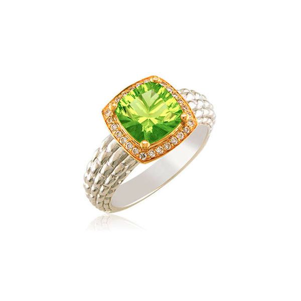 Pietra Collection Petite Peridot and Diamond Two-Tone Ring