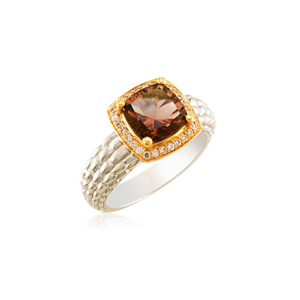 Pietra Collection Petite Rich Chocolate Quartz and Diamond Two-Tone Ring
