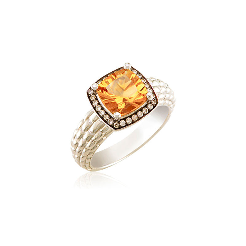 Pietra Collection Petite Citrine and Diamond Ring