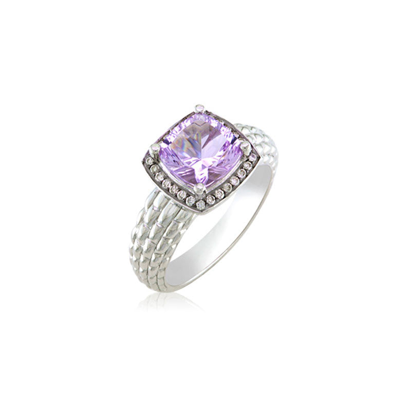 Pietra Collection Petite Rose de France and Diamond Ring