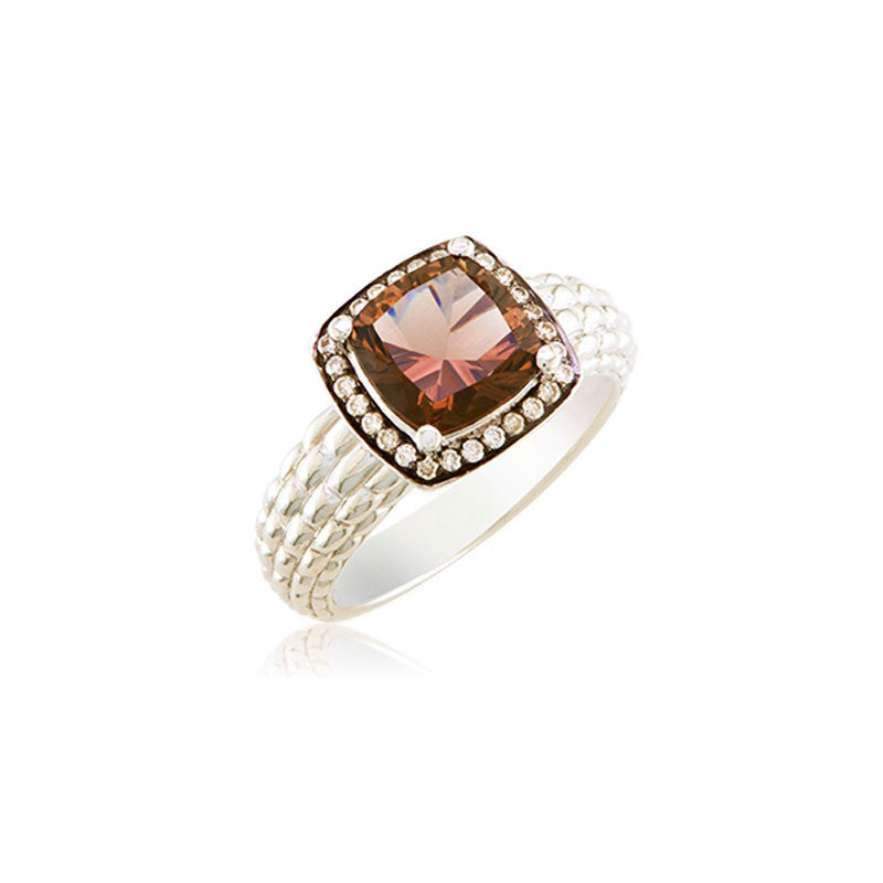 Pietra Collection Petite Rich Chocolate Quartz and Diamond Ring