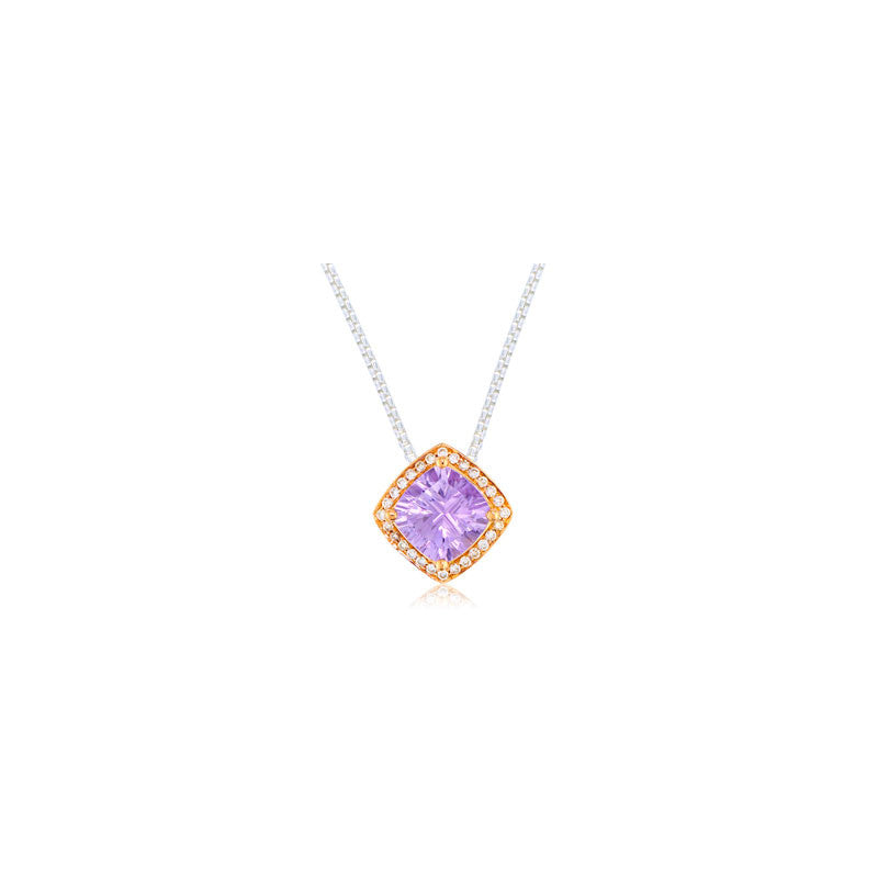 Pietra Collection Petite Rose de France and Diamond Two-Tone Pendant