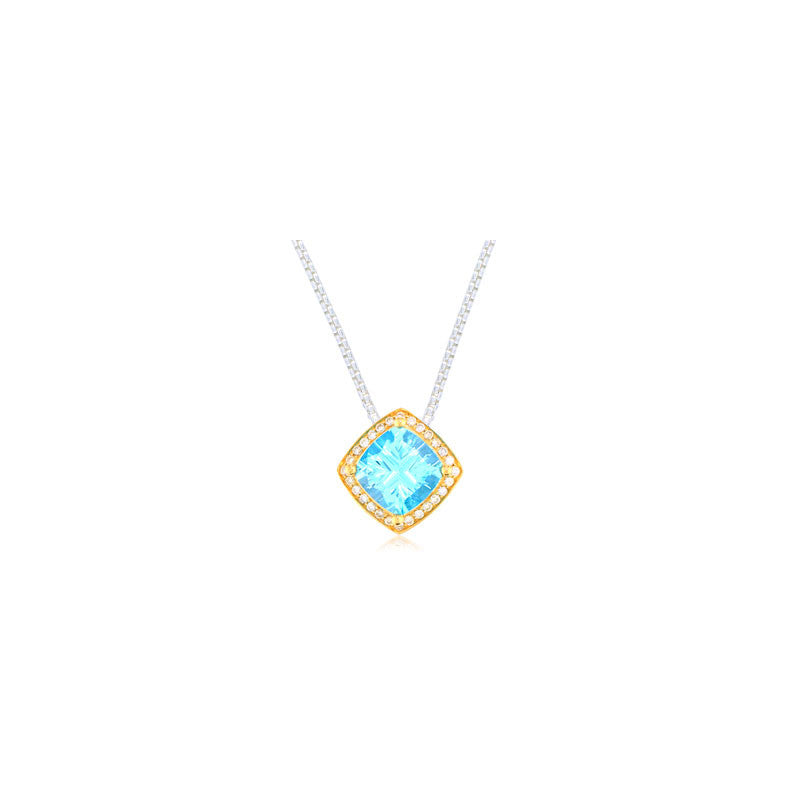 Pietra Collection Petite Blue Topaz and Diamond Two-Tone Pendant