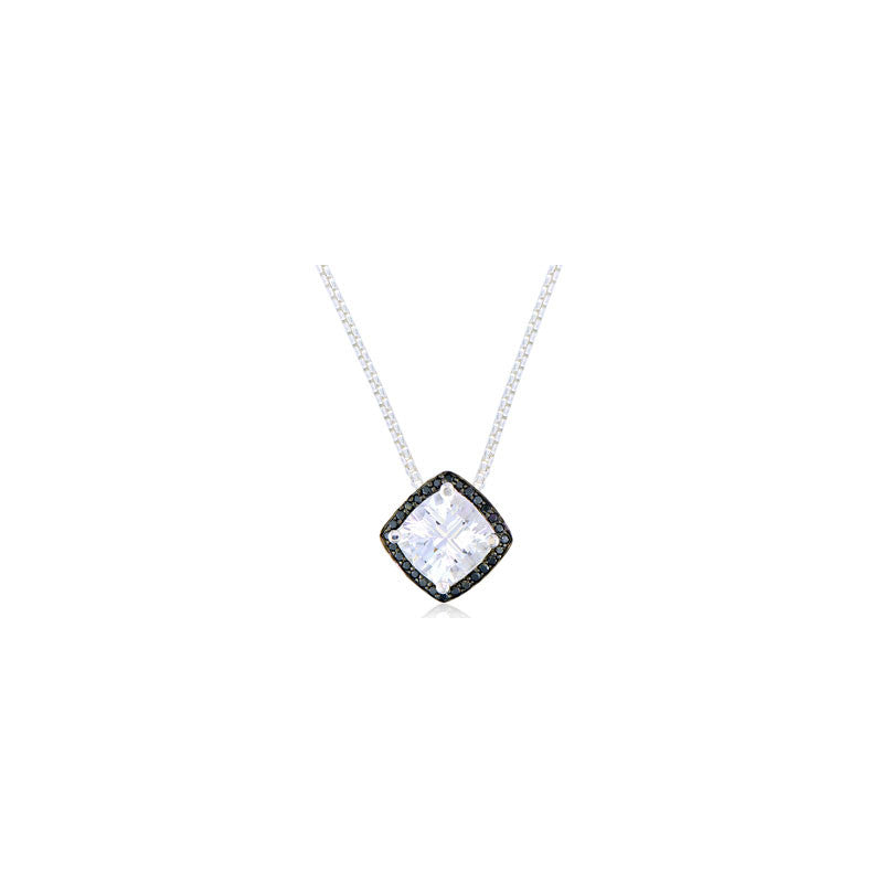 Pietra Collection Petite White Quartz and Black Diamond Pendant