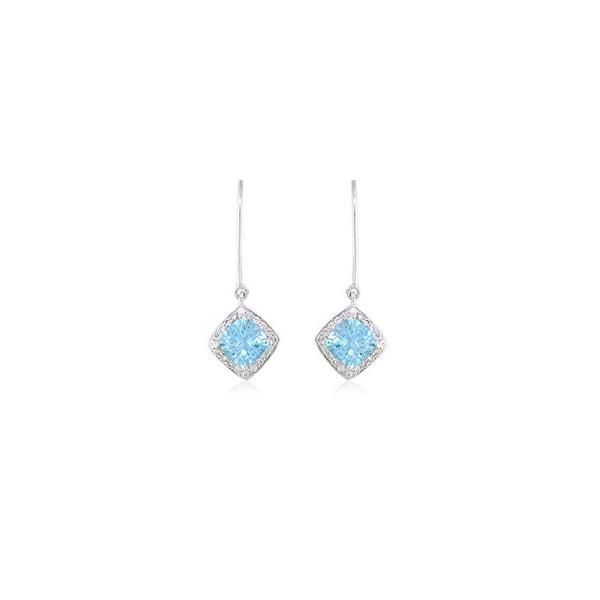 Pietra Collection Petite Blue Topaz and Diamond Earrings