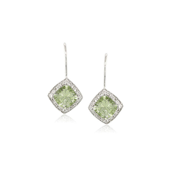Pietra Collection Petite Prasiolite and Diamond Earrings