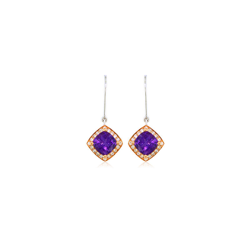 Pietra Collection Petite Amethyst and Diamond Two-Tone Earrings