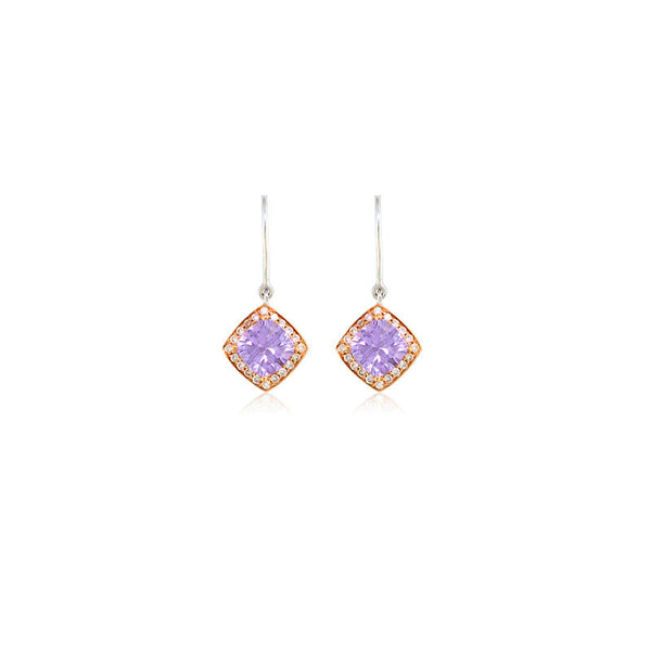Pietra Collection Petite Rose-de-France and Diamond Two-Tone Earrings