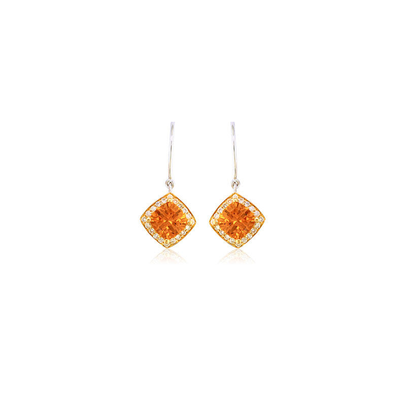 Pietra Collection Petite Citrine and Diamond Two-Tone Earrings