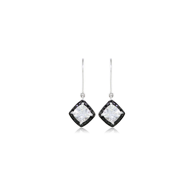 Pietra Collection Petite White Quartz and Black Diamond Earrings