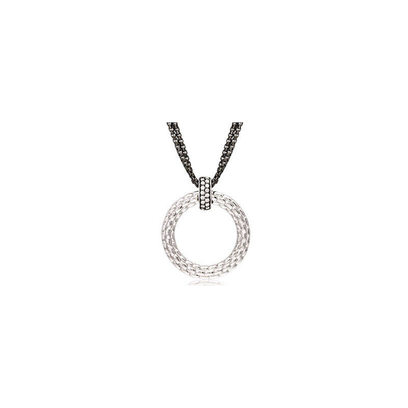 Pietra Collection Black Rhodiun Diamond Bale Circle Pendant
