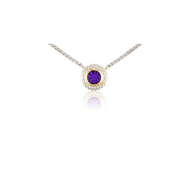 Pietra Collection Amethyst Two-Tone Circle Pendant
