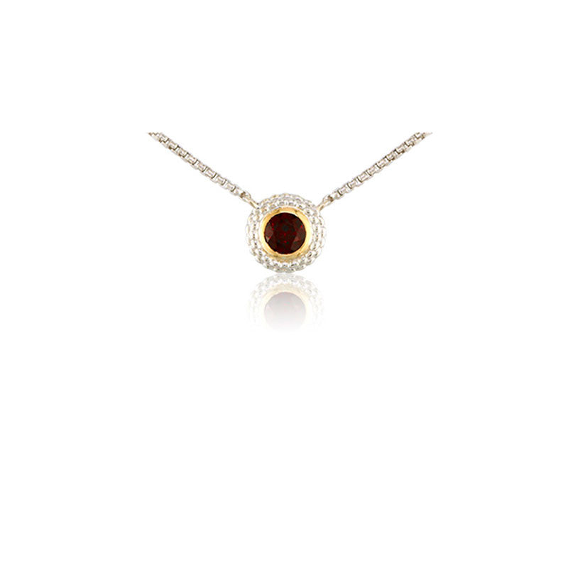 Pietra Collection Garnet Two-Tone Circle Pendant
