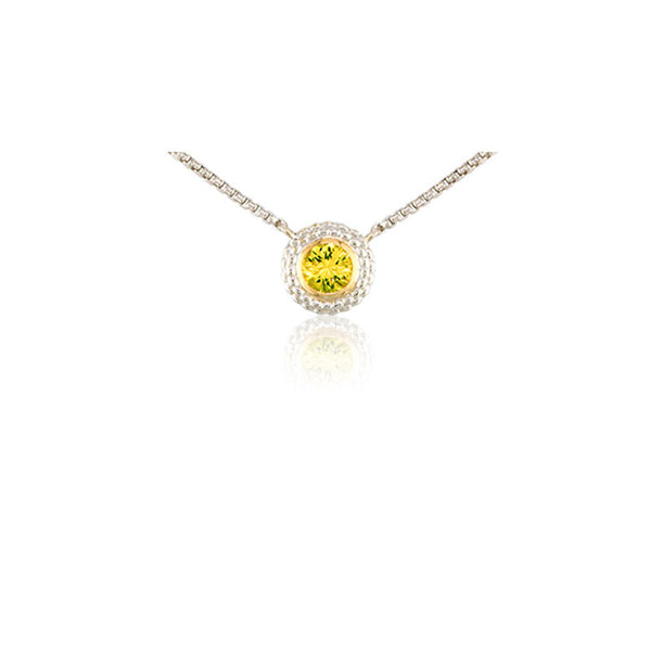 Pietra Collection Lemon Quartz Two-Tone Circle Pendant
