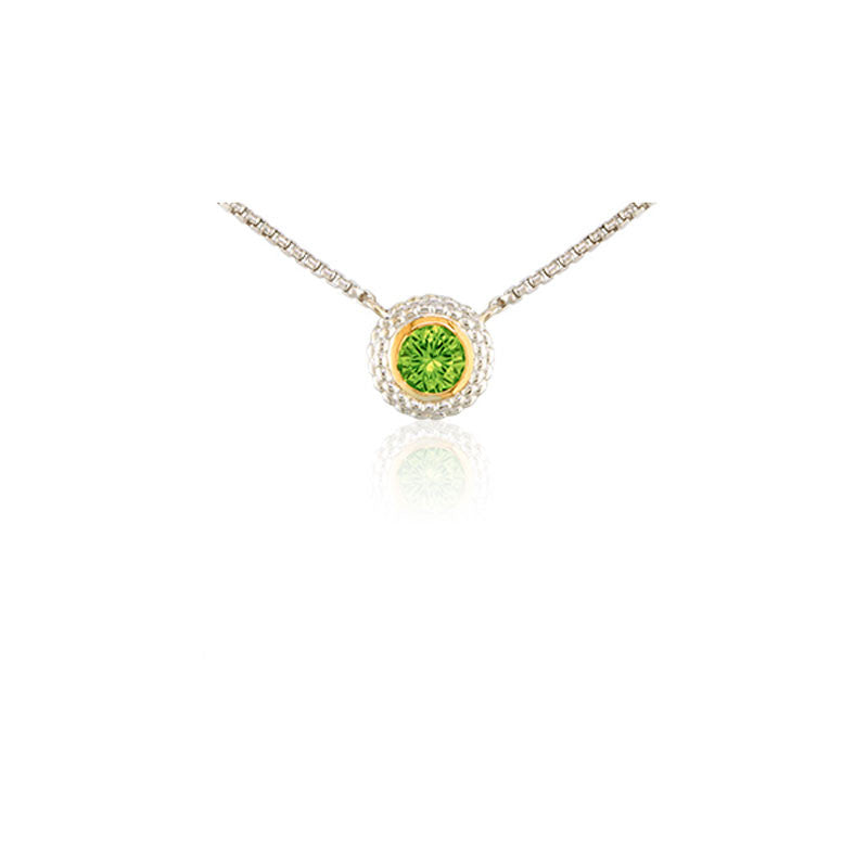Pietra Collection Peridot Two-Tone Circle Pendant