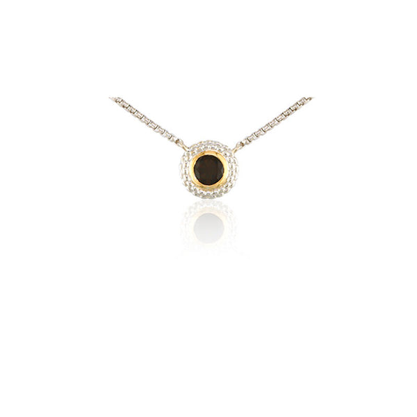 Pietra Collection Rich Chocolate Quartz Two-Tone Circle Pendant