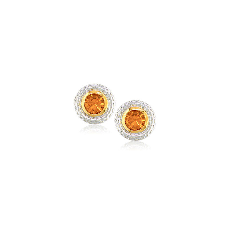 Pietra Collection Citrine Two-Tone Circle Earring