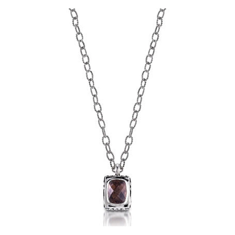 Signature Lace Collection Cushion Smoky Topaz Sterling Silver Necklace