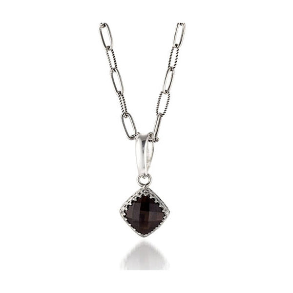 Crown Jewels Collection Cushion Shaped Smoky Topaz Pendant