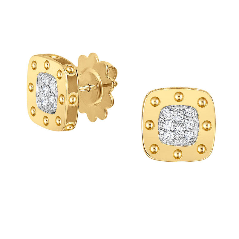 Pois Moi 18 karat yellow and white gold diamond stud earring