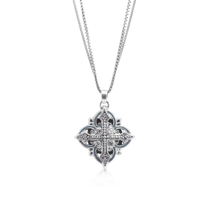 Haute Collection Cross and White Topaz Pendant