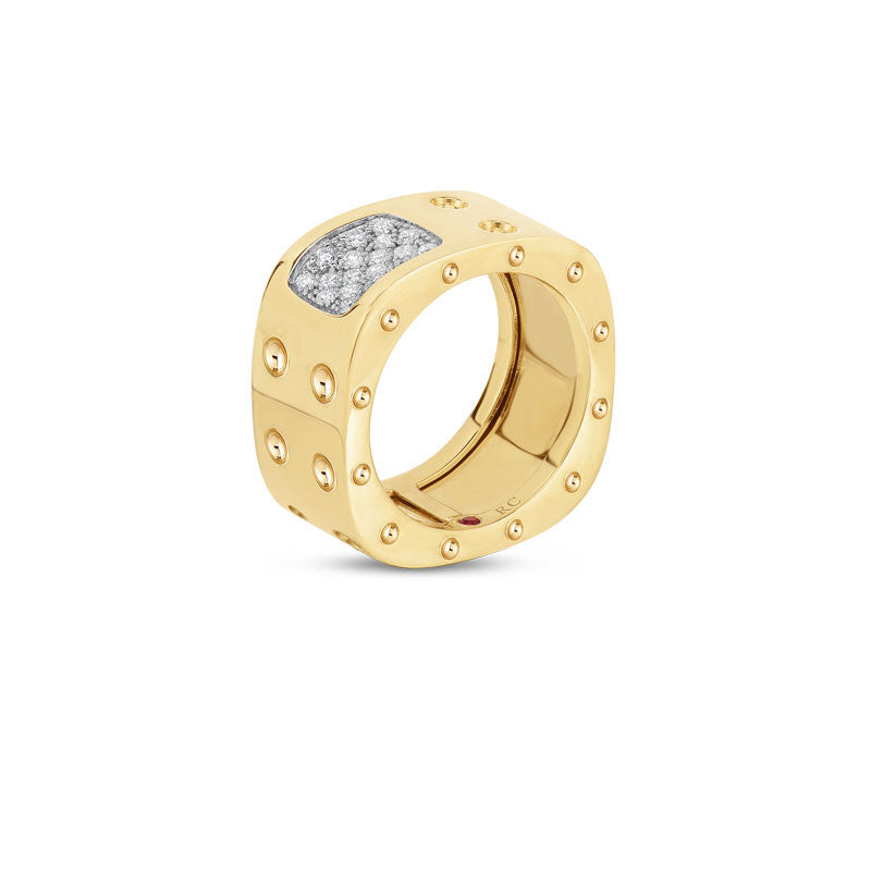 Pois Moi 18 karat yellow gold double row diamond square ring