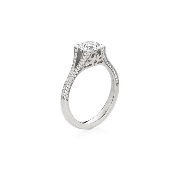 Danna Pave Round Brilliant Diamond Engagement Ring