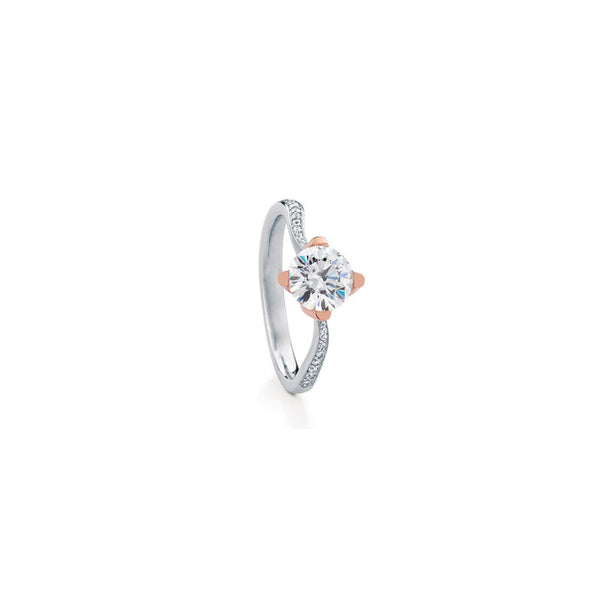 Rockrose Pave Round Brilliant Diamond Engagement Ring