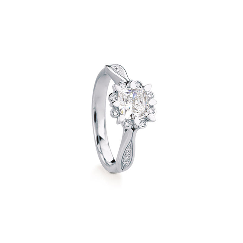 Snowdrop Cushion Brilliant Diamond Engagement Ring