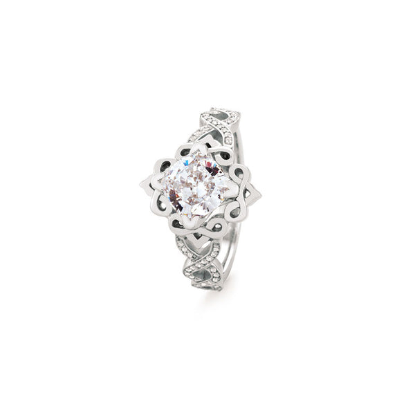 Stirling Cushion Brilliant Diamond Engagement Ring