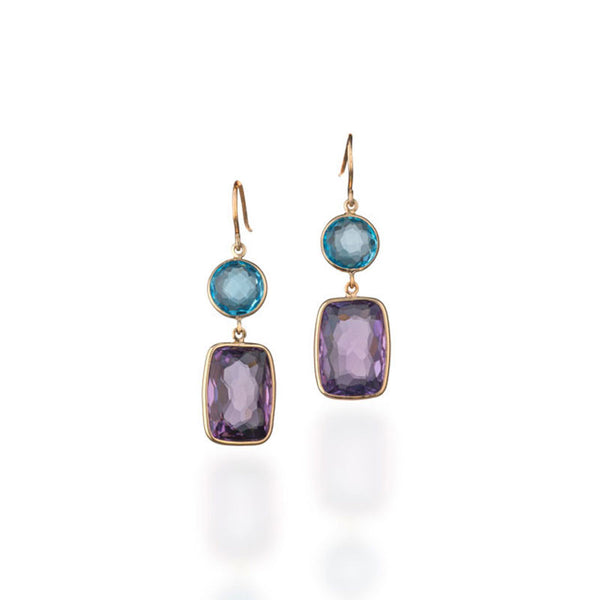 Como Collection Round Blue Topaz and Cushion Cut Amethyst Earrings