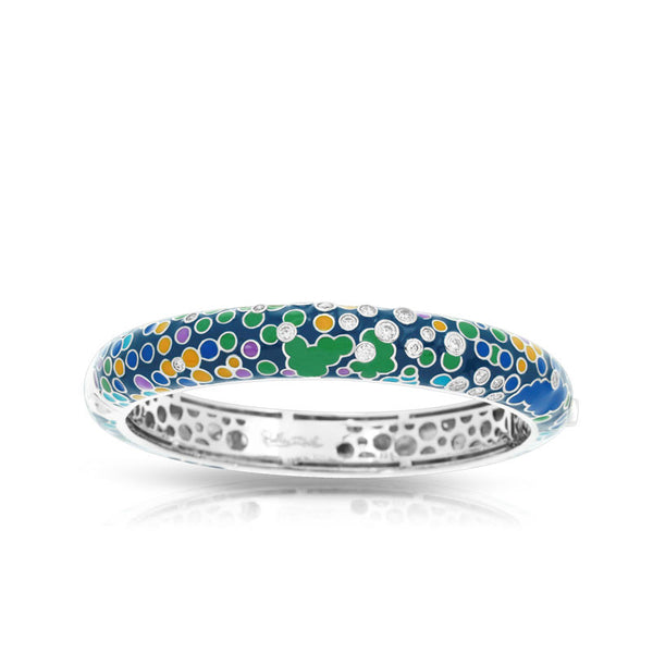 Belle Etoile Artiste Collection hand-painted blue and multicolored Italian enamel with pave-set stones bangle bracelet.