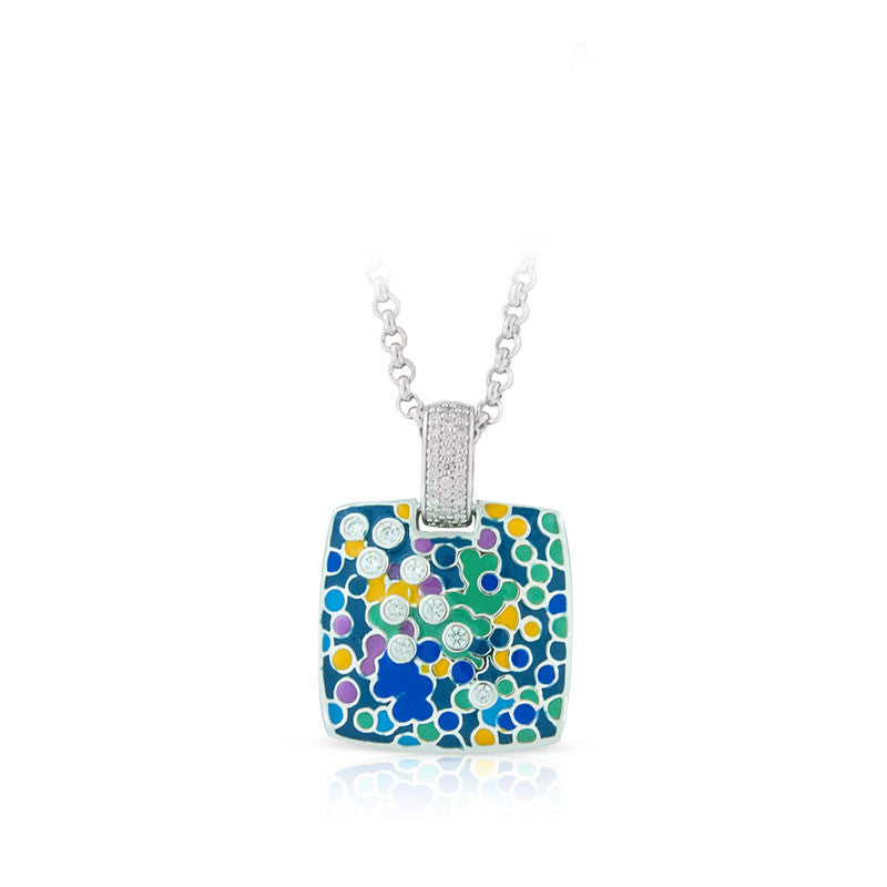 Belle Etoile Artiste Collection hand-painted blue and multicolored Italian enamel with pave-set stones pendant.